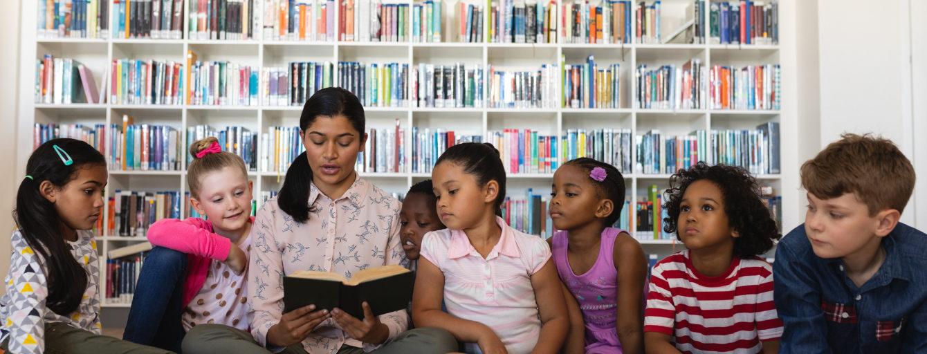 A teacher teaches her students